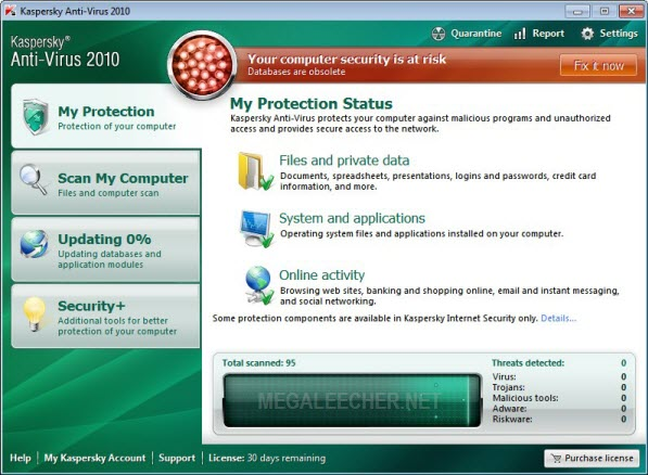 Kaspersky Anti Virus 2010 Final UI