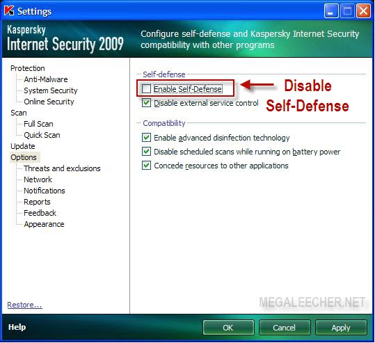 Disable Kaspersky Self-Defense