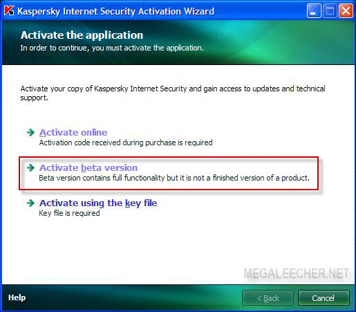 Kaspersky Activation Window