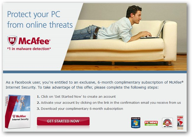 Register Six Months Registration Key For McAfee Internet Security 2011