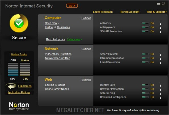 Norton Internet Security 2010 Main Screen