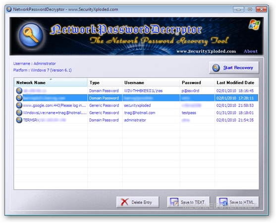 Windows Network Password Decryptor Main Window