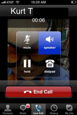 Skype iPhone In-call screen