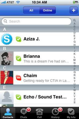 Skype iPhone Contact List