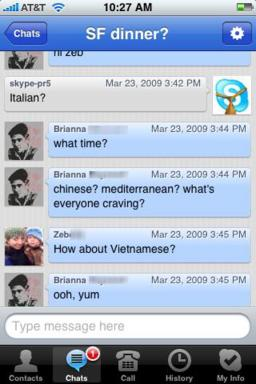 Skype iPhone Chat