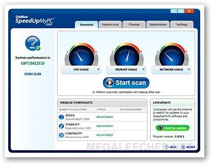 Uniblue SpeedUpMyPC 2009 Min Screen