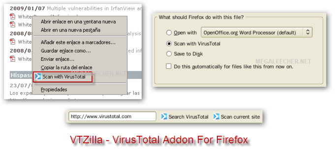 VTZilla - VirusTotal Browser Uploader