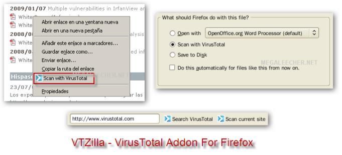 VTZilla - VirusTotal Browser Uploader