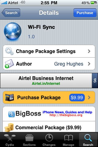 Wi-Fi Sync For Apple iPhone On Cydia