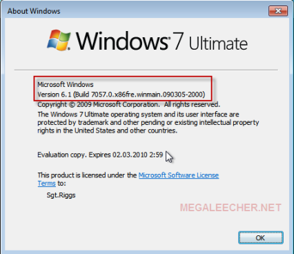 Microsoft Windows 7 Build 7057