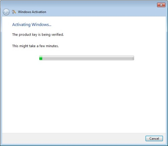 Activating Windows 7 Step 5