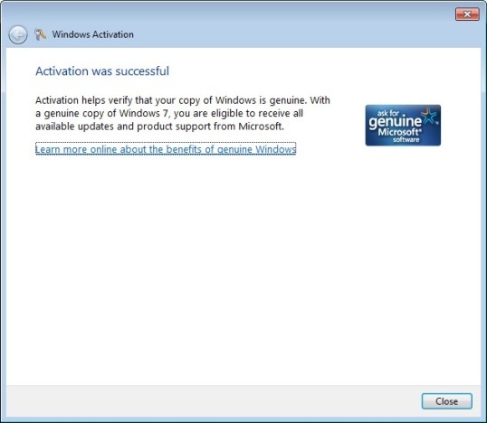 Activating Windows 7 Step 6