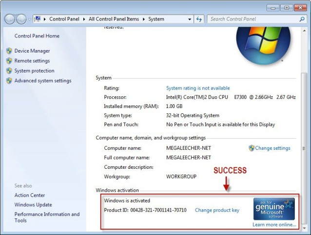 Activating Windows 7 Step 7