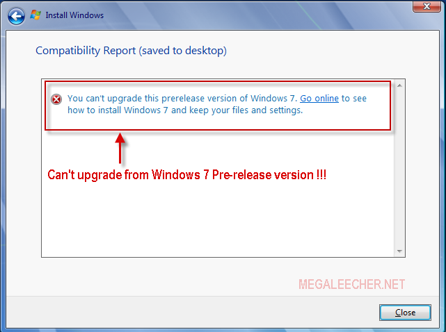 Windows 7 Upgrade Error