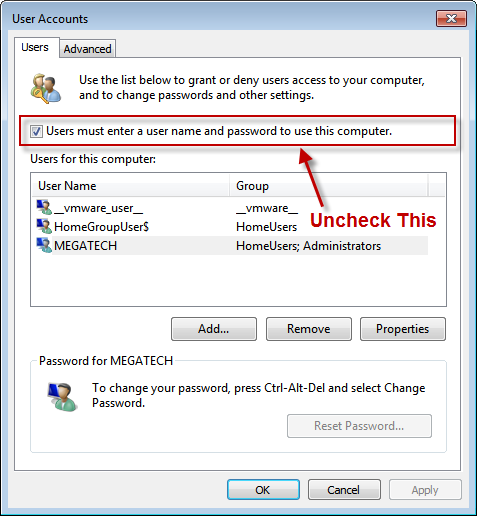 Windows User Accounts Dialog