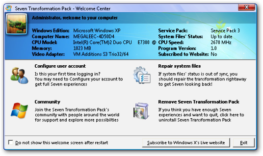 Windows Seven Transformation Pack Screen