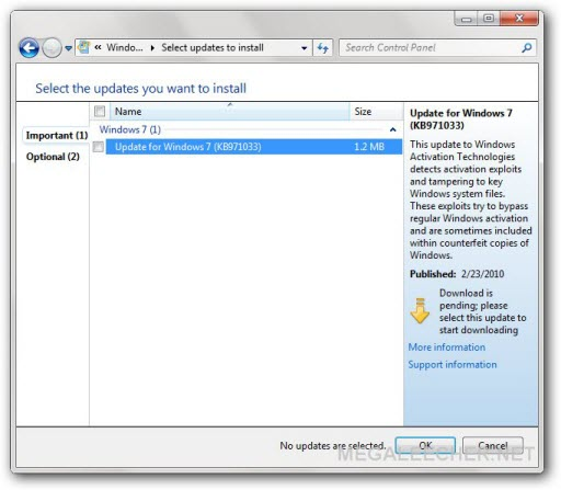 Windows 7 Anti-Piracy Update Is Now Live, Pirates Can Still