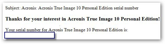 Acronis True Image 10 Personal Edition Registration number