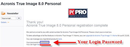 Acronis Registration