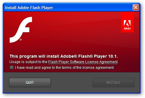 Adobe flash player gets updated to v 10 1 plugs 32 Install adobe flash