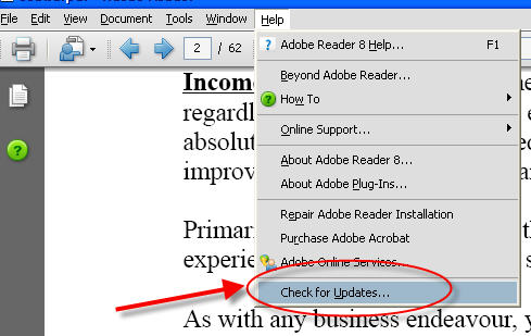 Disable Adobe Updater Step 1