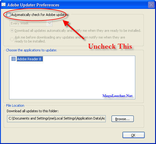 Disable Adobe Updater Step 4