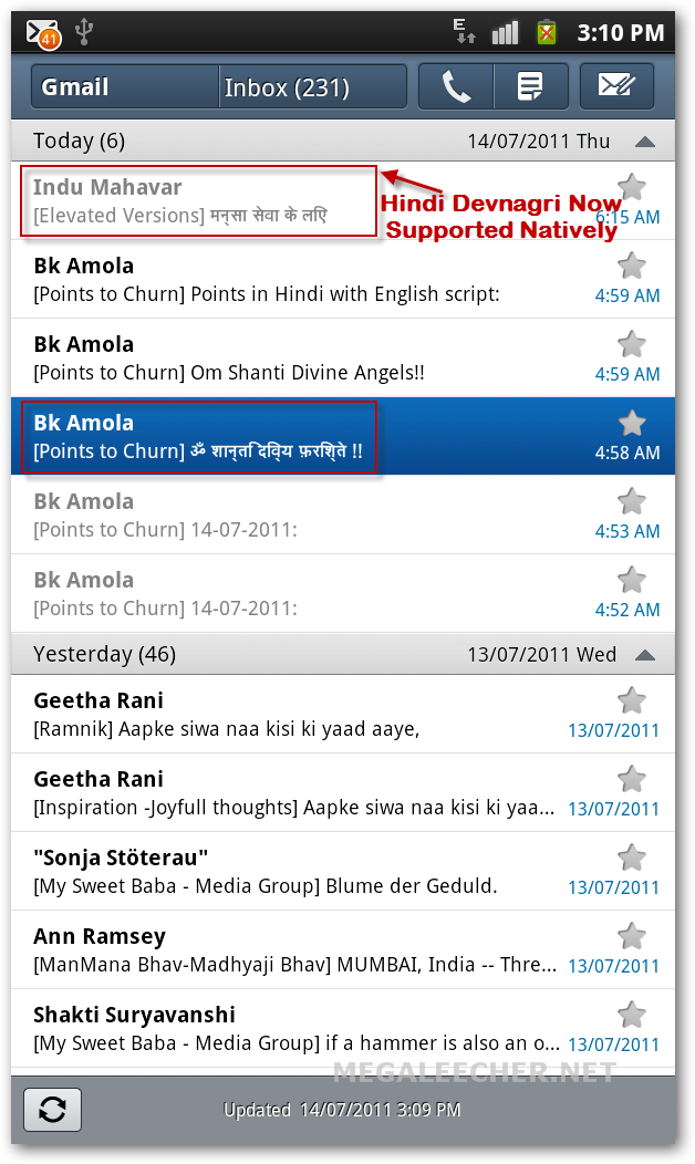 Hindi In Default Android eMail App