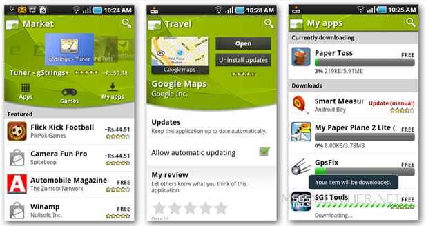 Updated Android market Interface