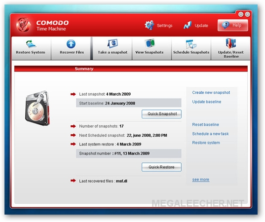 Comodo Time-Machine Main Screen