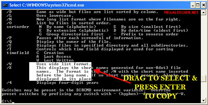 Text Selection From DOS