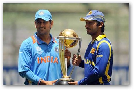 Indian Captain MS Dhoni With Sri-Lankan Skipper Kumar Sangakkara