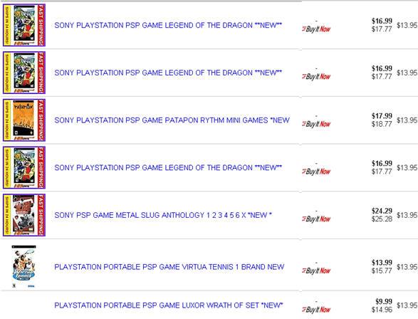 Ebay PSP Games