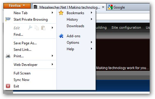Firefox 4 New Compact Menu