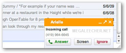 Gmail Incoming Call