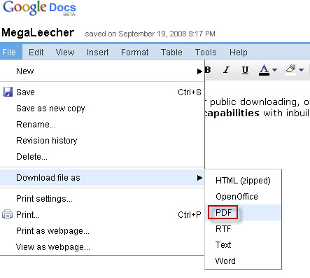 Google Docs PDF Publishing