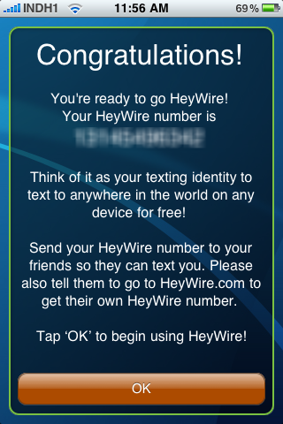 Heywire SMS Number