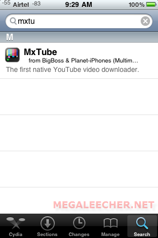 Search MxTube On Cydia
