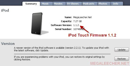 Apple iPod Touch With Firmware 1.1.2
