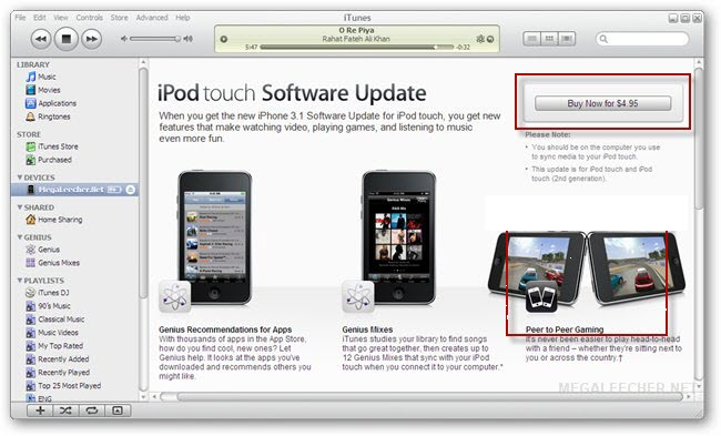 iPod Touch OS Update 3.1 Purchase Prompt