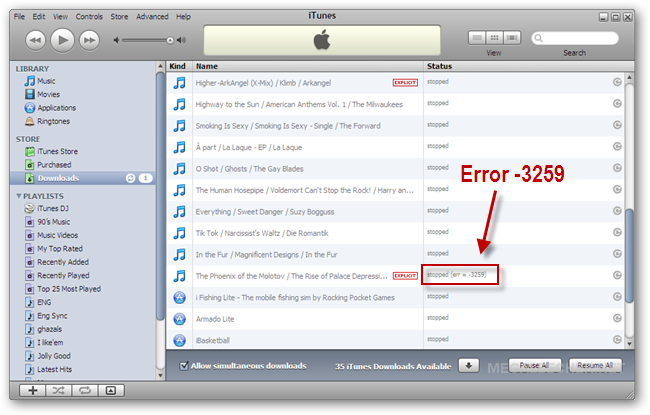 fixing itunes store error 3259 resulting in failed downloads