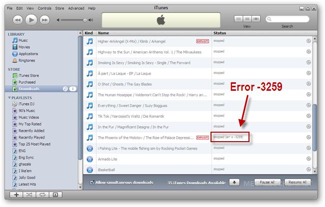 iTunes Store Error -3259
