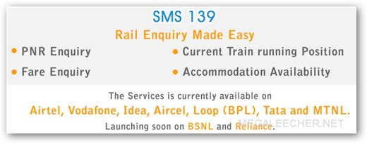 139 - Railway Information SMS Codes