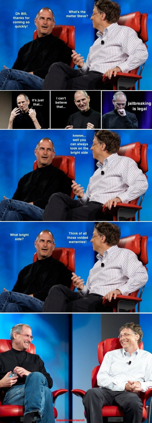 Steve Jobs And Bill Gates Sharing Thoughts Over iPhone Jailbreak