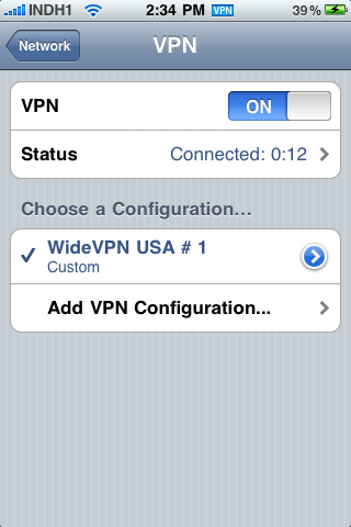 iPhone VPN Connected