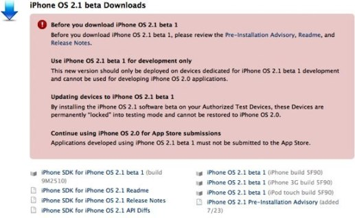 iPhone Firmware 21. Beta