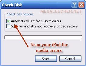 iPod Disk Error Scan