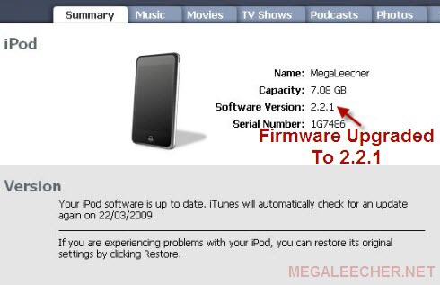firmware version will be displayed in iTunes. iPod Touch 2.2.1 firmware