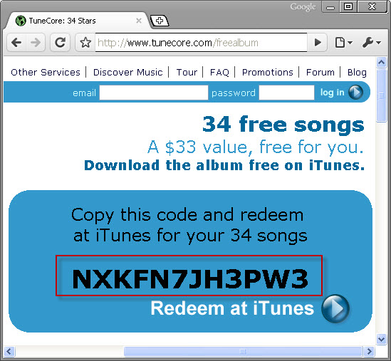 Free iTunes Store Gift Coupon To Create Account Without