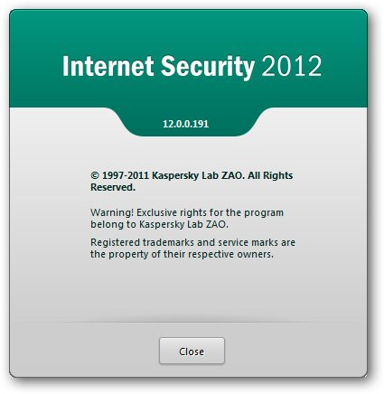 Kaspersky Internet Security 2012 About Box
