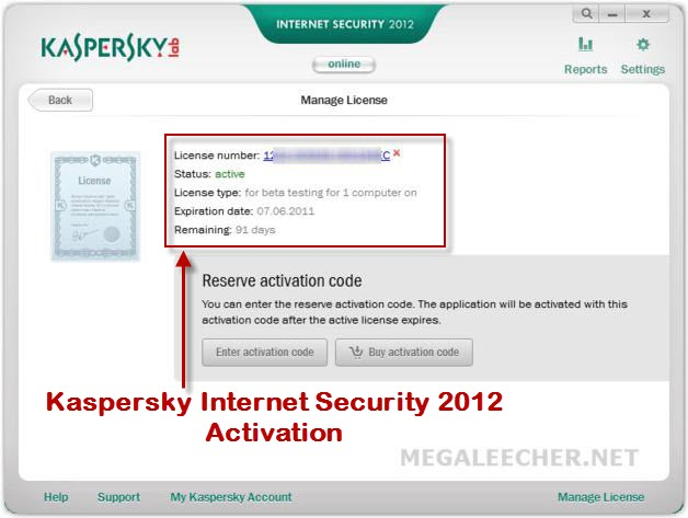 Authenticated Kaspersky Internet Security 2012 Activation Serial Number
